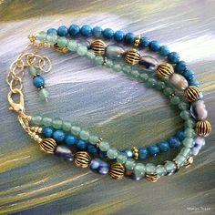 SALE  Riverstream Bracelet Aventurine Glass Beads by MangoTease