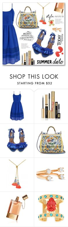 """Summer Date: The Beach"" by dressedbyrose ❤ liked on Polyvore featuring Yumi, Yves Saint Laurent, Dolce&Gabbana, Delfina Delettrez, Chloé, Maria Francesca Pepe, Kate Spade, beach and summerdate"