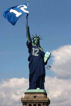 Super Bowl bound! Blue looks so good on her! Seattle Seahawks love New York!