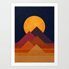 Full moon and pyramid Art Print by Budi Satria Kwan - $19.97