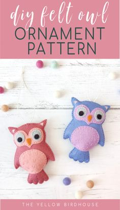 Make a super cute felt owl plushie that you can turn into an ornament or use as a nursery decoration. Simple step by step intructions and pattern pieces for a felt owl. DIY felt Christmas ornament pattern. Or don't add a string and use this sweet felt owl as a softie toy. Beginner friendly sewing pattern for felt ornaments.