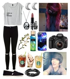 """""""Filming a video with Damon!"""" by one-direction-tumblr-girl on Polyvore featuring Miss Selfridge, TOMS, Eos, ChloBo, Bling Jewelry, Skagen, Tattify, MAC Cosmetics and Forever 21"""