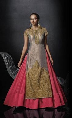 Silky Golden dresses   Buy Golden Embroidered Raw Silk Unstitched Gown Online