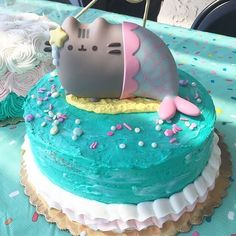 ← Shop Link in Bio ← Who's throwing a Pusheen-inspired birthday party this summer? 😺🎂 This Magical cake features a Shark Birthday Cakes, Birthday Cake For Cat, Girl Birthday Themes, Pretty Cakes, Cute Cakes, Yummy Cakes, Pusheen Cakes, Dipper Cakes, Pusheen Birthday