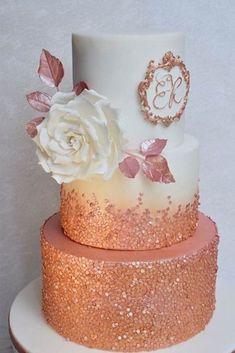 White Wedding Cakes, Beautiful Wedding Cakes, Beautiful Cakes, Gold Wedding, Sequin Wedding, Camo Wedding, Wedding White, Wedding Cupcakes, Amazing Cakes