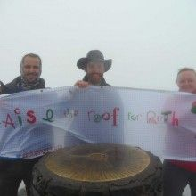 Our Banner for Critically Ill Ruth's Family Climbing Mount Snowdon