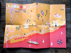 """Lisbon: here's why - Map Image of Lisbon: here's why - Map<br> From Herb Lester """"This guide allows for ambling, for wandering and for looking around Lisbon's beautiful tiled streets. We enjoy views from. Leaflet Map, Lisbon Map, Visual Map, Catalog Design, Information Design, City Maps, Map Design, Interactive Design, Design Thinking"""