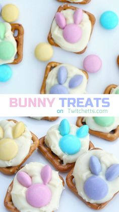 simple and fun Easter bunny snacks. Made with pretzels and spring colored M&M candies. Kids will love making this recipe as much as they will enjoy eating them! crafts for grandparents How to make easy Easter bunny snacks with pretzels Easy Easter Desserts, Easter Snacks, Easter Candy, Easter Brunch, Easter Treats, Easter Food, Easter Decor, Easter Table, Easter Salad