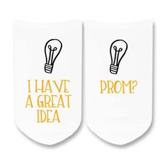 Great Idea, Prom? - PROMposal Socks - White No Show or CrewSocks - Sold by the pair