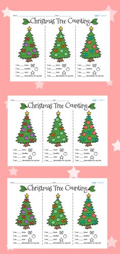 This handy worksheets / worksheet gives your children the opportunity to show how much they've learned about this topic. Christmas Worksheets, Preschool Christmas, Christmas Activities, Christmas Planning, Christmas Tree Themes, Christmas Art, Maths Display, Classroom Displays, Counting Activities