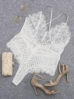 White Sexy V-neck Lace Design Bodysuit with Random Lace Pattern