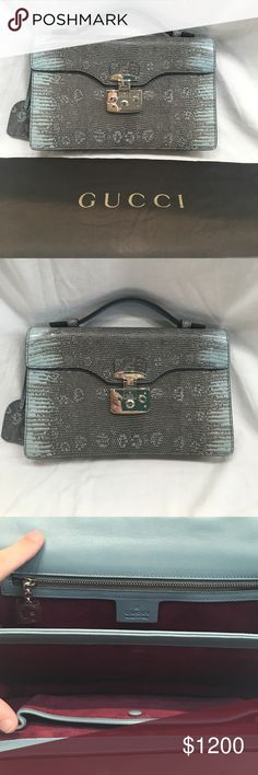 """Gucci blue brown alligator top handle mini bag Gucci robins egg blue alligator leather top handle mini bag . It is made by Gucci and was made in Italy . It has lined in purple suede and has a locking clasp with key . It measures 7.5"""" tall & 11.0"""" wide 2.5"""" deep . It is brand new with out tags and comes with a dust bag . Gucci Bags Mini Bags"""