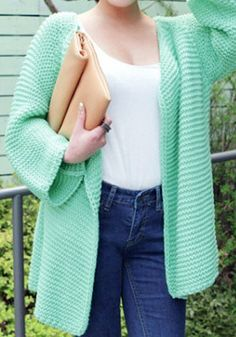 Oversize Open Front Cardigan in mint