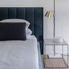 Bedroom styling perfection by @luciabstylist for @vitaledesignau Featuring our Quilted Cushion  Twin Side Table! #interiordesign #stying #urbancouturedesigns #interiorinspo #architecture