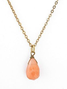 American Apparel, Peach Tear Drop Semi Precious Necklace