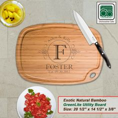 Personalized Extra Large Bamboo Cutting Board - Design 18