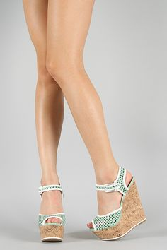 Delicious Katy-S Perforated Peep Toe Platform Wedge | $27.60