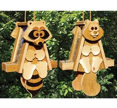 Cedar Raccoon & Squirrel Bird Feeder Woodcraft Patterns