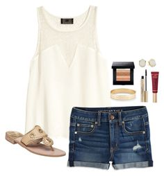 """""""-The power of a white t-shirt and a smile-"""" by elyse-eburg ❤ liked on Polyvore featuring H&M, American Eagle Outfitters, Jack Rogers, Stella & Dot, Elizabeth Arden, Bobbi Brown Cosmetics, Too Faced Cosmetics and Kendra Scott"""