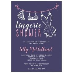 Pink clothesline navy blue lingerie bridal shower invitation lingerie, #blue, #shower, #bridal, #Pink
