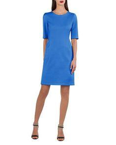 B47ZW Akris Stretch-Sateen Half-Sleeve Dress