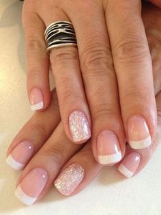 Gel french manicure french manicure with glitter, french manicure gel nails, coloured french manicure Ongles Gel French, Glitter French Manicure, French Manicure Designs, Nail Manicure, Nail Art Designs, French Manicures, Manicure Ideas, Glitter Nails, French Pedicure