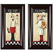 """This set of prints serves as great inspiration for the head chef in your home.     may be hung together or separately  colorful prints depicting French chefs and titled """"le vin"""" (the wine) and """"le pain"""" (the bread)  beautifully framed in transitional brown molding     Paper print; polystyrene frame. Each print measures 13x1x25""""H. Made in USA."""