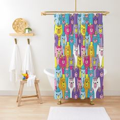 'Cute Colorful Cartoon Cats Pattern' Shower Curtain by ironydesigns Cartoon Cats, Custom Shower Curtains, Cat Pattern, Colorful, Art Prints, Printed, Awesome, Cute, People