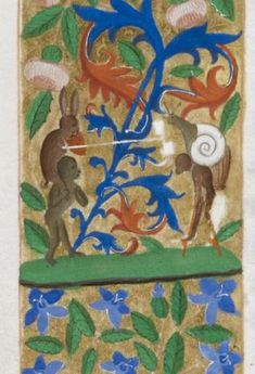 Knight v Snail IX:  Just for Fun:  A Rabbit, Monkeys, and a Snail Jousting (from the Harley Froissart, Netherlands (Bruges), c. 1470-1472, H...