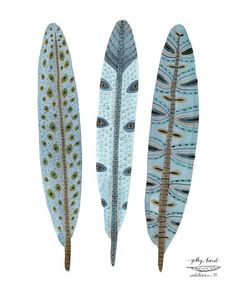 Blue Plume feathers bird art giclee print by GollyBard on Etsy Watercolor Feather, Feather Painting, Feather Art, Watercolor Print, Bird Feathers, Watercolor Paintings, Feather Crafts, Art And Illustration, Feather Illustration