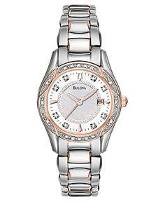 63507dac2bb308 Bulova Watch, Women's Diamond Accent Stainless Steel Bracelet 28mm 98R164 - Women's  Watches - Jewelry