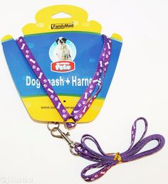 "DOG PURPLE PAW PRINT BONE 3/8"" FABRIC NYLON HARNESS & LEASH XSMALL SMALL 5""-11"" #Unbranded"