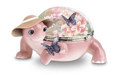 "Butterfly Whispers Music Box Heirloom Porcelain® limoges-style turtle music box showcasing art by Lena Liu. Plays ""What a Wonderful World."