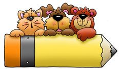 Cat, Dog & Bear Leaning on a Pencil