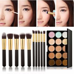 CoKate 10PC Makeup Brush Set with 15 Colors Pro Contour Face Cream Makeup Cosmetic Concealer Palette *** Want additional info? Click on the image. (Note:Amazon affiliate link)
