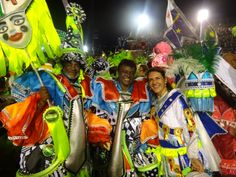 An exhausted but very happy Sandra at the end of the Parade with some other members of the Mocidade School.  Check out the colours!  Beautiful!