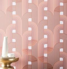 With its classic art-deco style, our Drop It MODERN Raceway wallpaper adds a glam touch to your space. Simple to install and easy to remove, this removable wallpaper is perfect for renters and serial redecorators. Modern Wallpaper Designs, Designer Wallpaper, Mirror Wall Art, Home Wall Art, Mirrored Wallpaper, Geo Wallpaper, Quirky Wallpaper, Orange Wallpaper, Painted Wallpaper