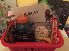 Baseball boyfriend gift basket