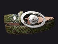 Accessories  - Belt Buckle 03 by Feirouz Jewellery in silver 925. Green python belt.