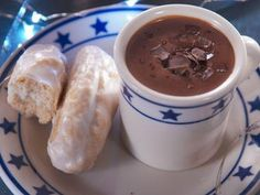 """Homemade Hot Chocolate with Old-Fashioned Doughnut Sticks (Cozy Food and Fun on the Farm) - Nancy Fuller, """"Farmhouse Rules"""" on the Food Network."""