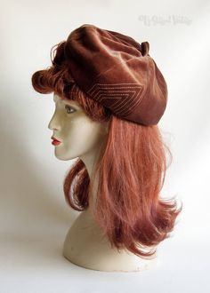 Vintage Original 1950s/60s Brown Velvet Newsboy Baker Boy Beret Hat Cap by UpStagedVintage on Etsy