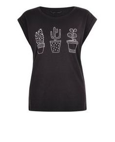 Black Cactus Trio Roll Sleeve T-Shirt    New Look