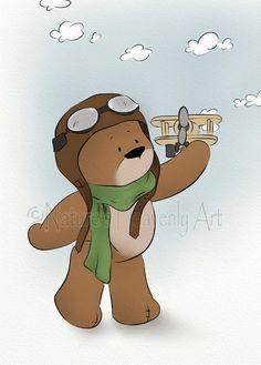 Wall Art Childs Nursery Teddy Bear Print by NaturesHeavenlyArt