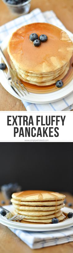 This extra fluffy, dairy free pancakes recipe is so easy to make with egg and almond milk. Can easily be made gluten free and vegan with a few simple swaps. I used and gluten free all purpose baking flour Dairy Free Pancakes, Tasty Pancakes, Fluffy Pancakes, Breakfast Pancakes, Dairy Free Breakfasts, Best Breakfast, Vegan Breakfast, Breakfast Recipes, Dairy Free Recipes