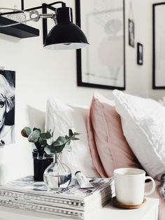 Morning coffee in my bedroom. Home Decor Inspirtation. White home decor 1930s House Interior, White Home Decor, Bedroom Interior, Grey Interior Doors, Home Decor, Room Inspiration, Bedroom Inspirations, Room Decor, Dorm Room Decor