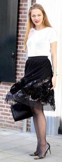 Endearing Sequined Rosette Mesh Skirt