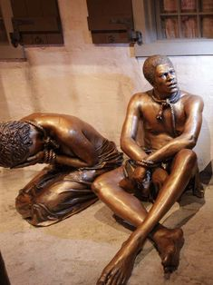 Bronze statutes depicting enslaved Africans currently on display at the Underground Railroad Freedom Center in Cincinnati, Ohio. #statue #sculpture #ohio #cincinnati #blackart...