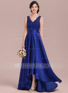 [£96.00] A-Line/Princess V-neck Asymmetrical Satin Lace Bridesmaid Dress With Bow(s)