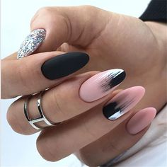 Here are 48 Fascinating Nails You Need To See! All of these nails are lov. Here are 48 Fascinating Nails You Need To See! All of these nails are lov. Black Ombre Nails, Blue Nail, Ombre Nail Art, Black And Nude Nails, Perfect Nails, Gorgeous Nails, Cute Nails, Pretty Nails, Hair And Nails