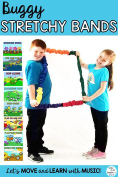 BUGGY STRETCHY BAND ACTIVITIES are perfect for springtime movement activity time. Picture your students stretching, bouncing, hopping, marching, twisting, wiggling through your music and movement activities. Best for Preschool through 2nd grade ages. #singplaycreate #musicclassresource  #musiceducation  #elementarymusiced  #musiced  #elementarymusiceducation  #musicandmovement #movementactivities #MusicEducationActivities  #stretchybandactivities